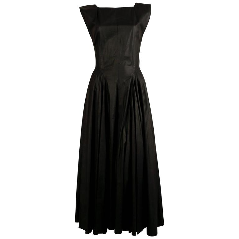 1980's AZZEDINE ALAIA long full skirted black dress with open back 1