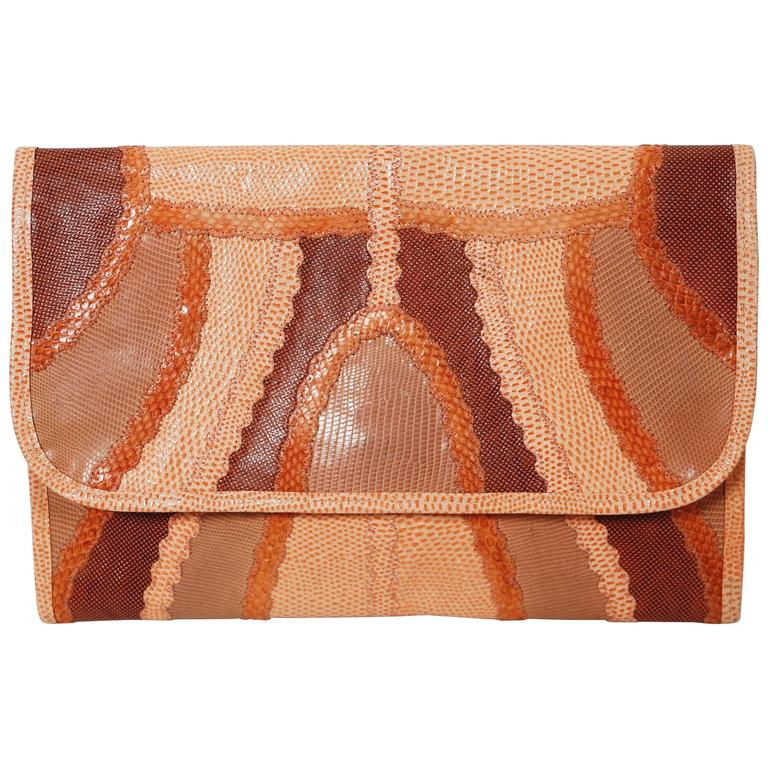 1970's CARLOS FALCHI peach patchwork reptile skin clutch For Sale