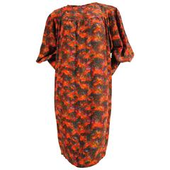 YVES SAINT LAURENT floral silk peasant dress