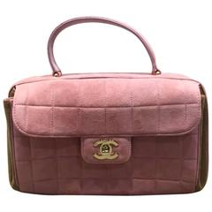 Chanel Pink Suede Quilted Handbag