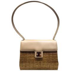 Chanel Ivory Leather and Bamboo Bastet Flap Shoulder Bag