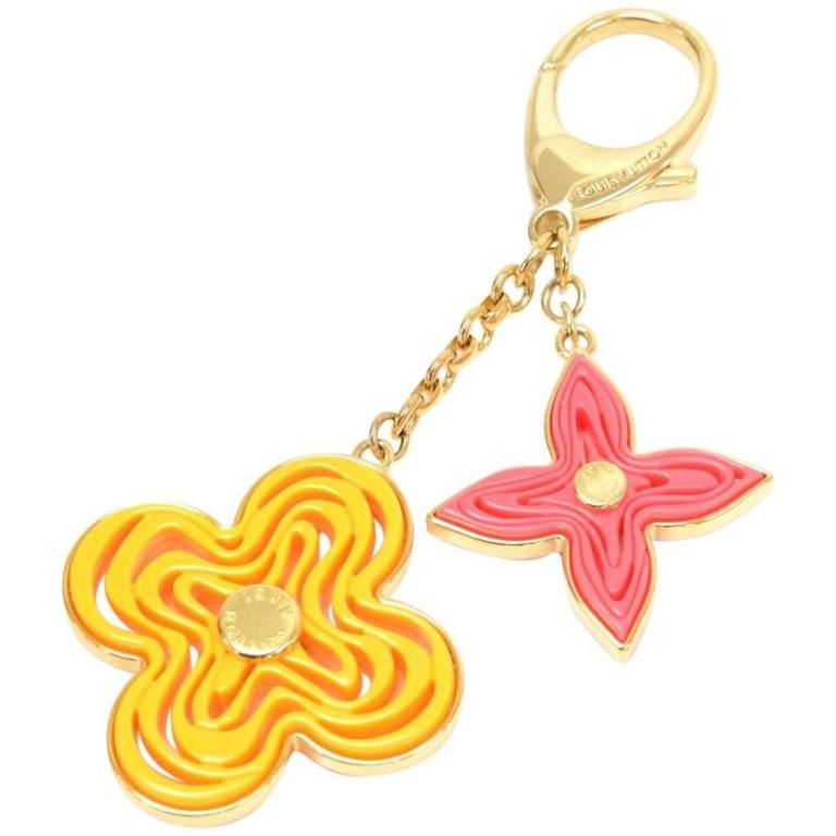 Louis Vuitton Gold Tone Yelllow x Pink Monogram Naif Key Chain / Holder For Sale