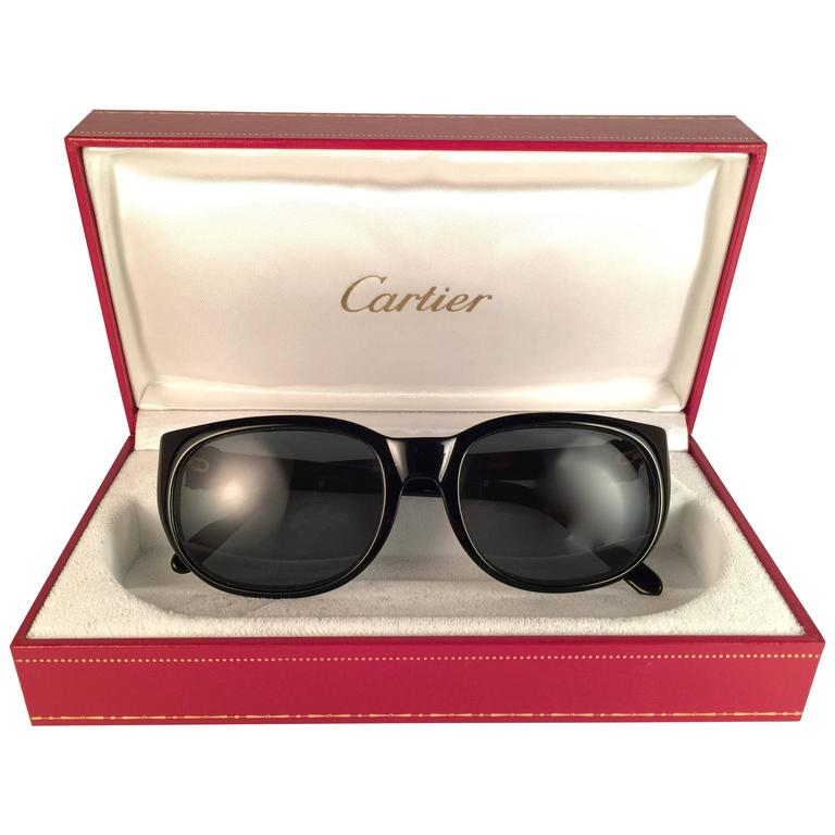 New Vintage Cartier Trinity Black 18k Gold Plated Accents France 1990 sunglasses