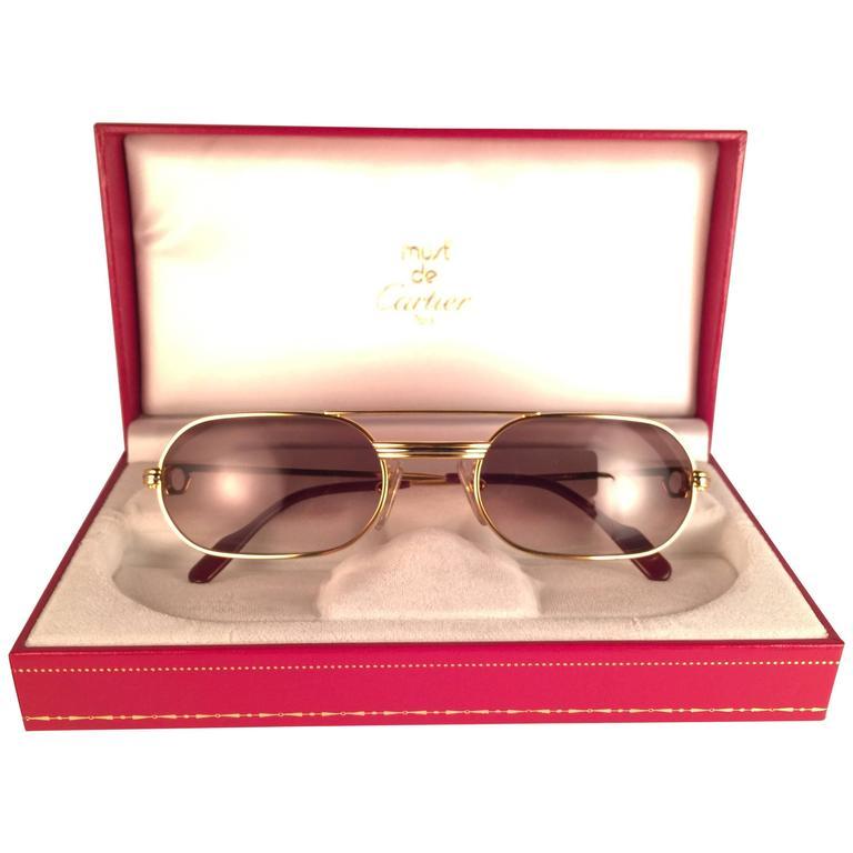New Vintage Cartier Louis Vendome Medium 53mm France Sunglasses