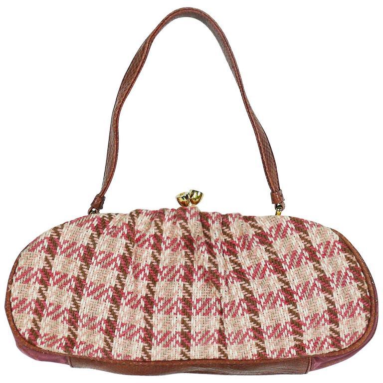 Christian Lacroix Vintage Tweed and Tartan Handbag For Sale