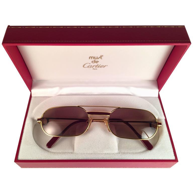 e9039e9a4be8 New Vintage Cartier Louis Laque De Chine Medium 55mm France Sunglasses For  Sale