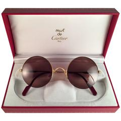 New Cartier Mayfair Round Half Frame Gold 49mm Brown Lens France Sunglasses