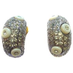 VALENTINO Vintage Ear Clips with Rhinestones