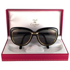 New Vintage Cartier Conquete  57mm Black Gold & Yellow Inserts France Sunglasses