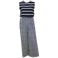 Pajama Style 1970's Adolfo Black & White Silk Stripe Top With Pants