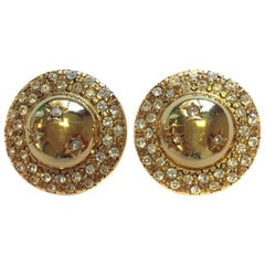 CELINE Vintage Gilt Metal Clip-on Earrings