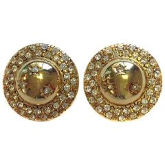 CELINE Vintage Gilt Metal Clip-on Earrings