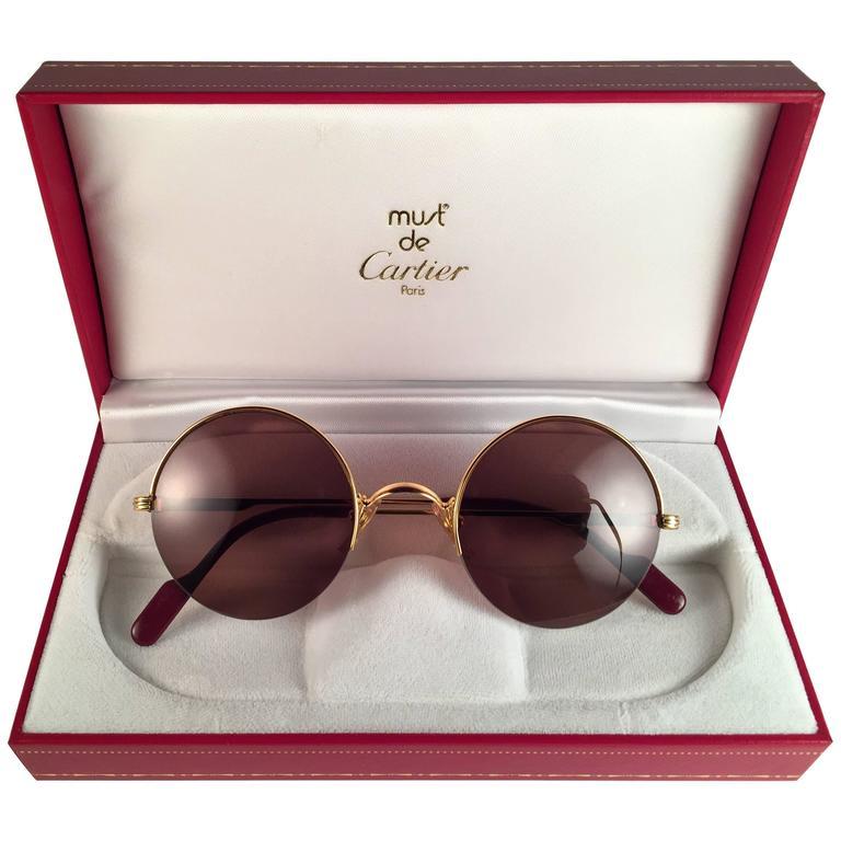 New Cartier Mayfair Round Half Frame Gold 47mm Brown Lens France Sunglasses