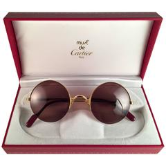 New Cartier Mayfair Round Half Frame Gold 47mm Brown Lens France Sunglasses