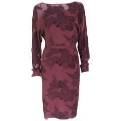 Gucci A/W 2012 Catwalk Burgundy Floral Sheer Dress It 38 UK 6