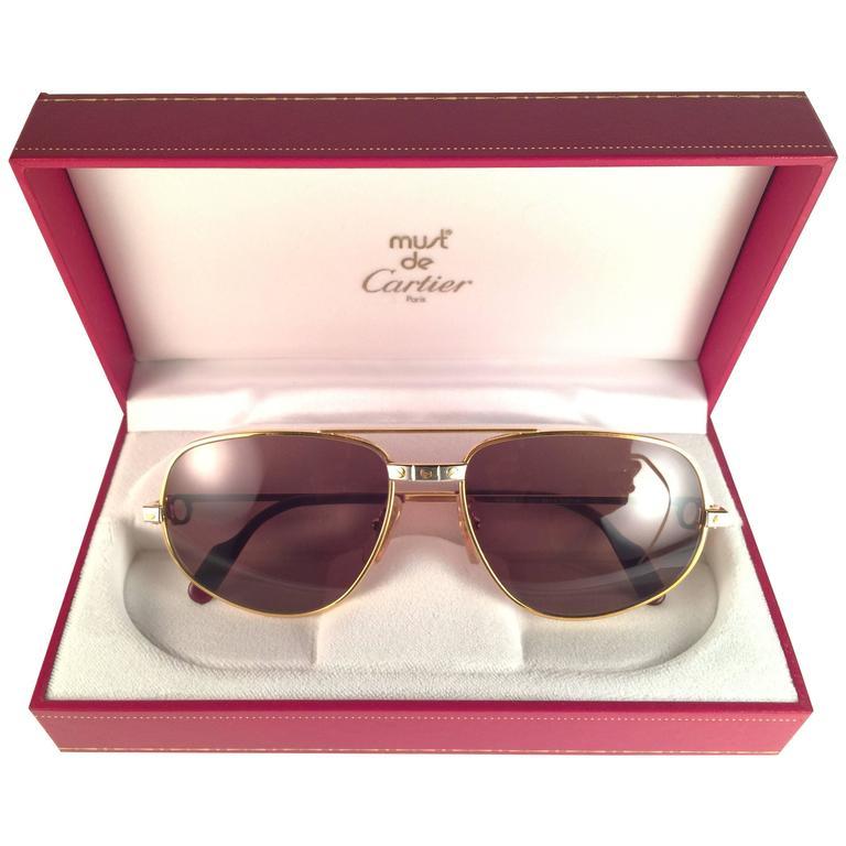 5e349f320544 New Vintage Cartier Romance Santos 54MM France 18k Gold Plated Sunglasses  For Sale