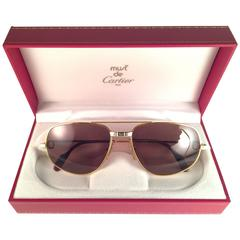 New Vintage Cartier Romance Santos 54MM France 18k Gold Plated Sunglasses