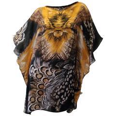 Contemporary Silk Printed Short Caftan Dress From Laleh Fayaz