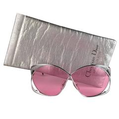New Vintage Christian Dior 2056 75 Butterfly Silver Metal Pink Lenses Sunglasses