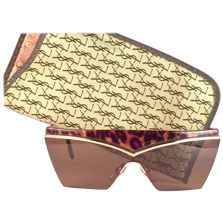 New Vintage Yves Saint Laurent 6506 Tortoise & Gold Mask Shield 1980 Sunglasses 1