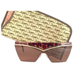 New Vintage Yves Saint Laurent 6506 Tortoise & Gold Mask Shield 1980 Sunglasses
