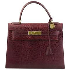 1960's Hermes Kelly 28 in Burgundy Lizard with Gold Hardware