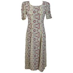 Giorgio Armani Tunic Beige Silk Italian Floral Cocktail Dress, 1980