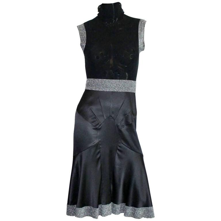 Dolce & Gabbana Gunmetal Tulle Silk Dress with Stand Up Collar For Sale