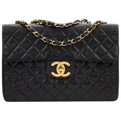 1990s Chanel Black Quilted Lambskin Vintage Maxi Jumbo XL Flap Bag