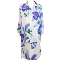 1980s Enrico Coveri white satin silk skirt suit floral dress