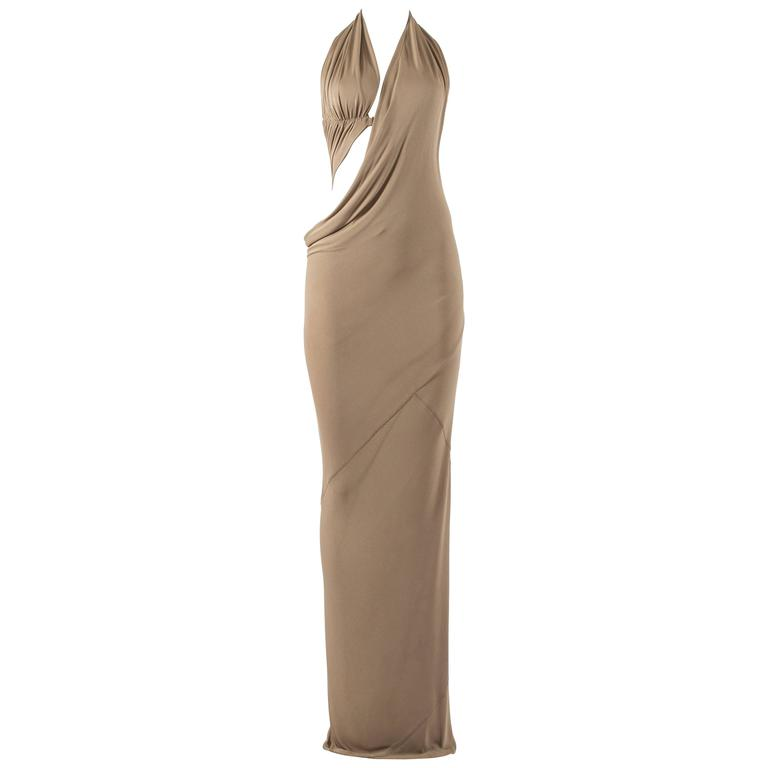 Jean Paul Gaultier 1990s pale taupe halter-neck evening dress