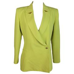 1980s Claude Montana yellow cotton blazer jacket