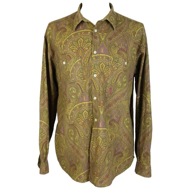 1980s Yves Saint Laurent Brown Cotton Red Paisley Shirt For Sale