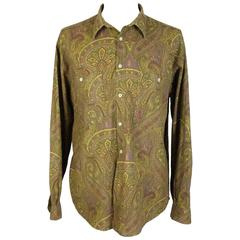 1980s Yves Saint Laurent Brown Cotton Red Paisley Shirt