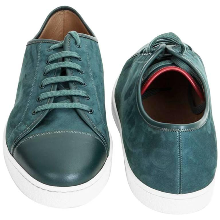 John Lobb Sneakers Blue Suede and Leather
