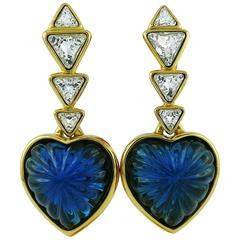 Yves Saint Laurent YSL Vintage Massive Faux Sapphire Heart Dangling Earrings