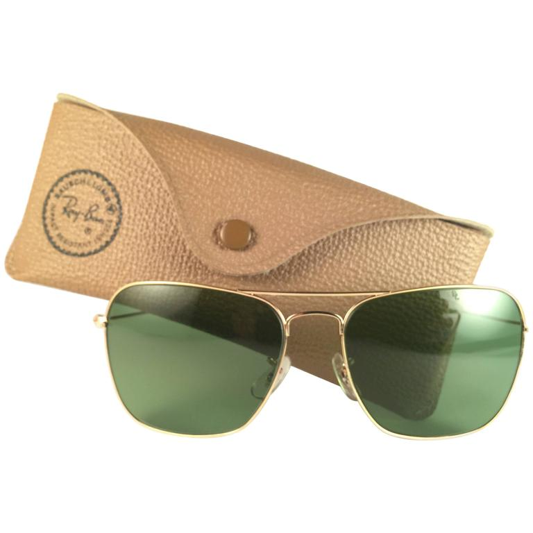 New Vintage Ray Ban Caravan Gold  58MM RB3 Green Lenses 1970's B&L Sunglasses