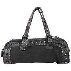 FENDI SELLERIA Black Canvas & Leather BASSOTTO BAG w/ Studs