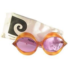 New Vintage Pierre Cardin Kiss Tortoise Rose Lenses Small C18 1960's Sunglasses