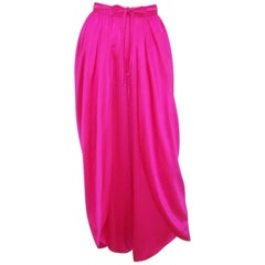 1970's Hot Pink Silk Charmeuse Wrap Harem Pants
