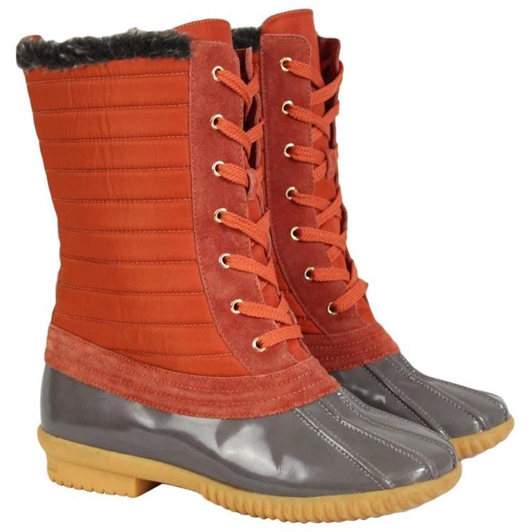 2000s Marc Jacobs Orange Duck Boots Shoes 1