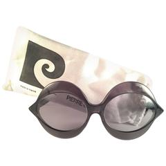 New Vintage Pierre Cardin Kiss Black Grey Lenses C18 1960's Sunglasses