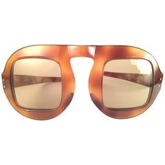 "New Vintage Pierre Cardin "" Shell "" Tortoise Medium Brown Lens 1960's Sunglasses"