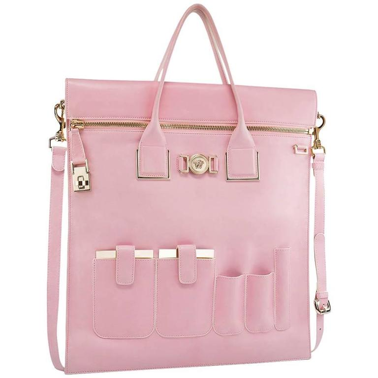 New VERSACE POWDER PINK LEATHER ORGANIZER BAG 1