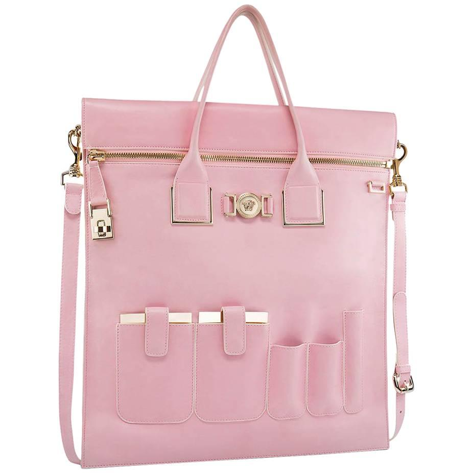 Versace New Versace Powder Pink Leather Organizer Bag