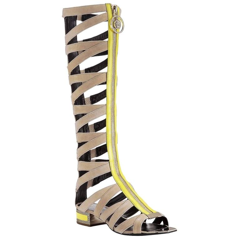 New VERSACE Tan Suede Knee Sandal Gladiator Boots For Sale