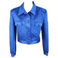 1980s Mimmina Couture Blue Elettric Jacket Blazer Motorcycle