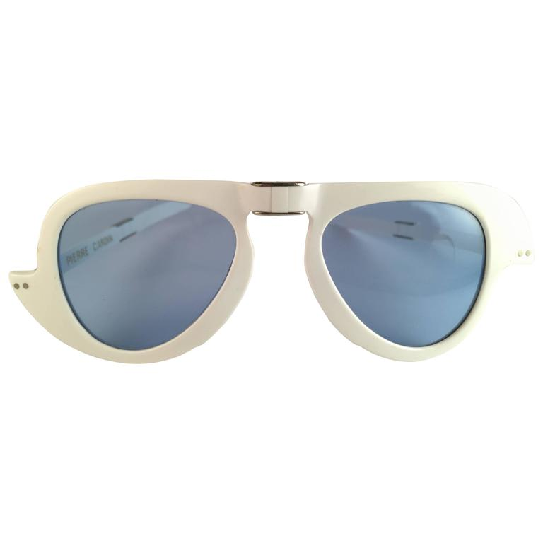 New Vintage Pierre Cardin White Foldable Blue Lens 1960's sunglasses
