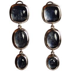 Goossens Paris Triple Drop Tinted Rock Crystal Clip Earrings