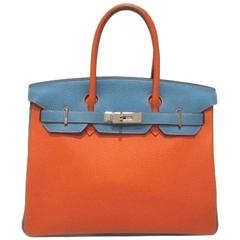 Hermes Eclat Bicolor Orange Blue Jean Togo Leather Birkin 30 Bag - Rare